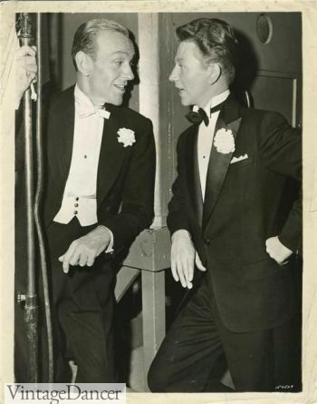 1950s Fred Astaire and Donald O'Connor sporting formal and semi formal tuxedos