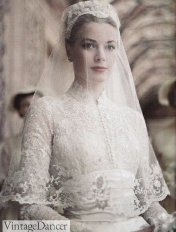 Grace Kelly wears a skin tight long sleeve lace wedding gown for her church wedding to Price Rainier