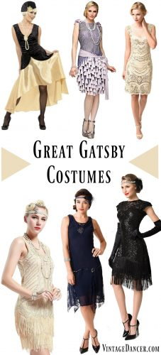 Great Gatsby costumes, Gatsby costumes & Gatsby Dresses for women inspired by Daisy. Roaring 20s women's costumes from cheap to luxury. Find them at Vintagedancer.com #flapper #greatgatsby #20scostume #1920s
