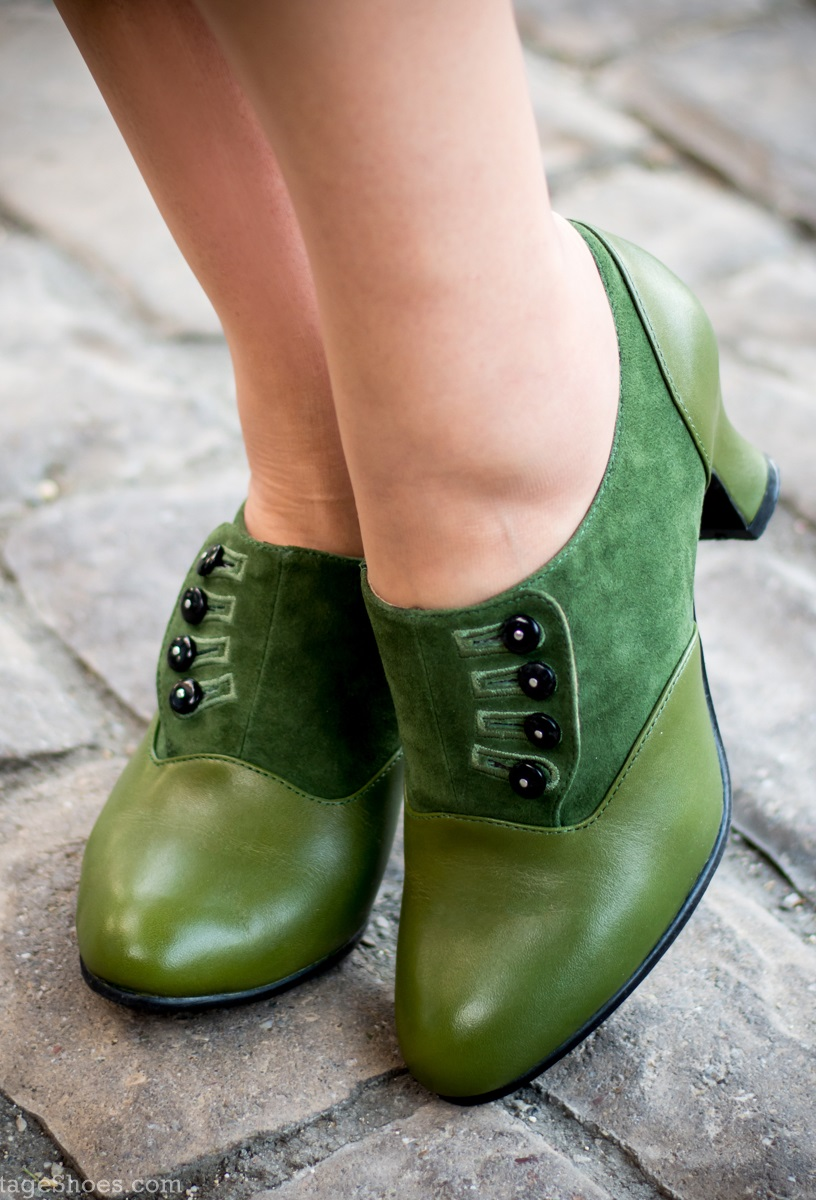 Vintage Style Shoes, Vintage Inspired Shoes Greta Retro Side-Button Shoes Green $155.00 AT vintagedancer.com