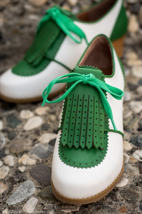 Pin Up Shoes- Heels, Pumps & Flats Hepburn 1940s Golf Shoes GreenWhite $160.00 AT vintagedancer.com