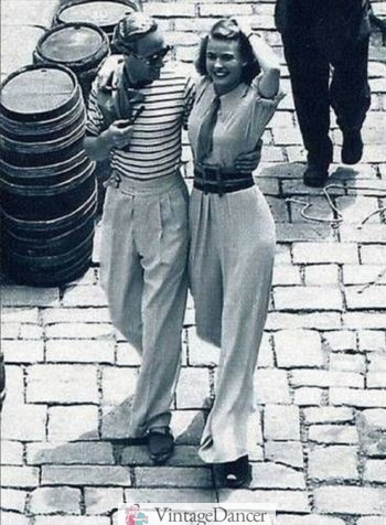 Leslie Howard wearing a striped t shirt and white pants, 1938