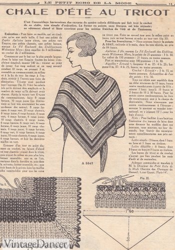 A chevron knit shawl in Petit Echo de la Mode, 1933.