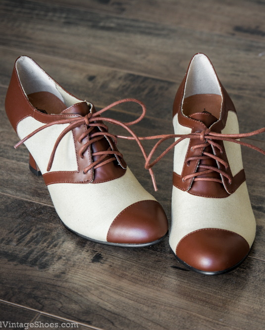 1930s Style Shoes – Art Deco Shoes  Evelyn Retro Oxfords by Royal Vintage TanBrown $150.00 AT vintagedancer.com