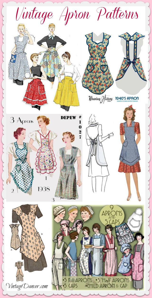 Retro vintage apron patterns sewing patterns DIY at vintagedancer.com