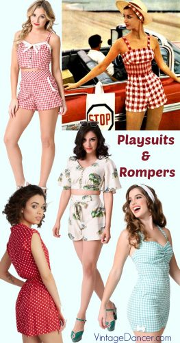 Retro vintage rompers and playsuits in the style sof the 1930s, 1940s, and 1950s at VintageDancer.com