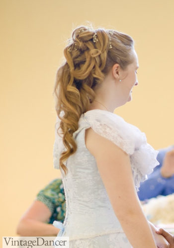 Waterfall hairstyle for a Victorian wedding