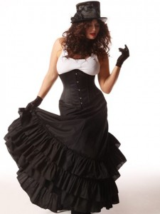 Steampunk Clothing - Skirt, Corset, top hat and gloves