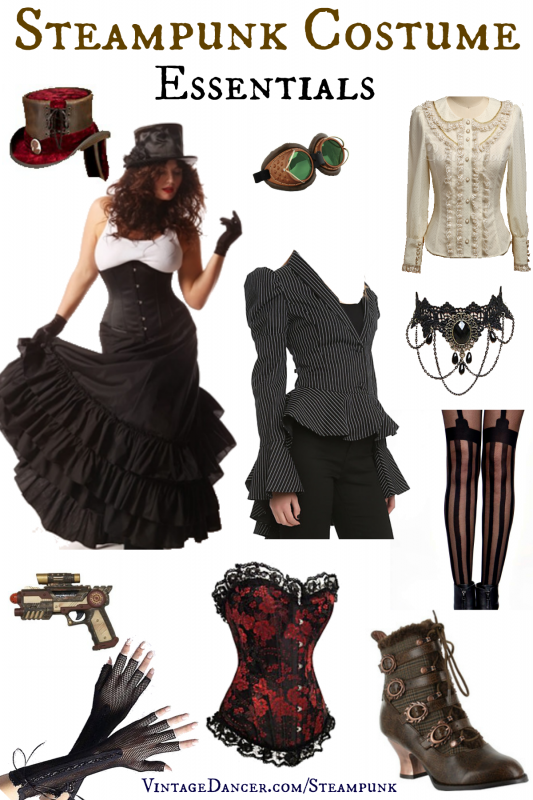 Steampunk costume essentials. What you need to mix and match your way to a unique Steampunk costume. Plus where to find great Steampunk style clothing. Sahafah24.info/Steampunk