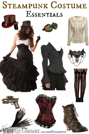 Steampunk costumes essentials for women. Skirt, blouse, vest or corset, top hat and books are just a few pieces you need. Shop them at Sahafah24.info