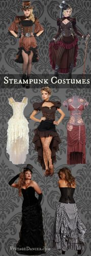 Steampunk Halloween costumes, clothing, fashion ideas. Best sellers from VintageDancer.com/steampunk