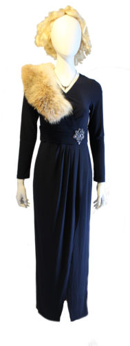 This draped evening gown with fur shawl has a Titanic era feel