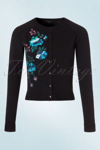 Add a splash of color with the beautiful embroidered flowers on this cardigan from Top Vintage.
