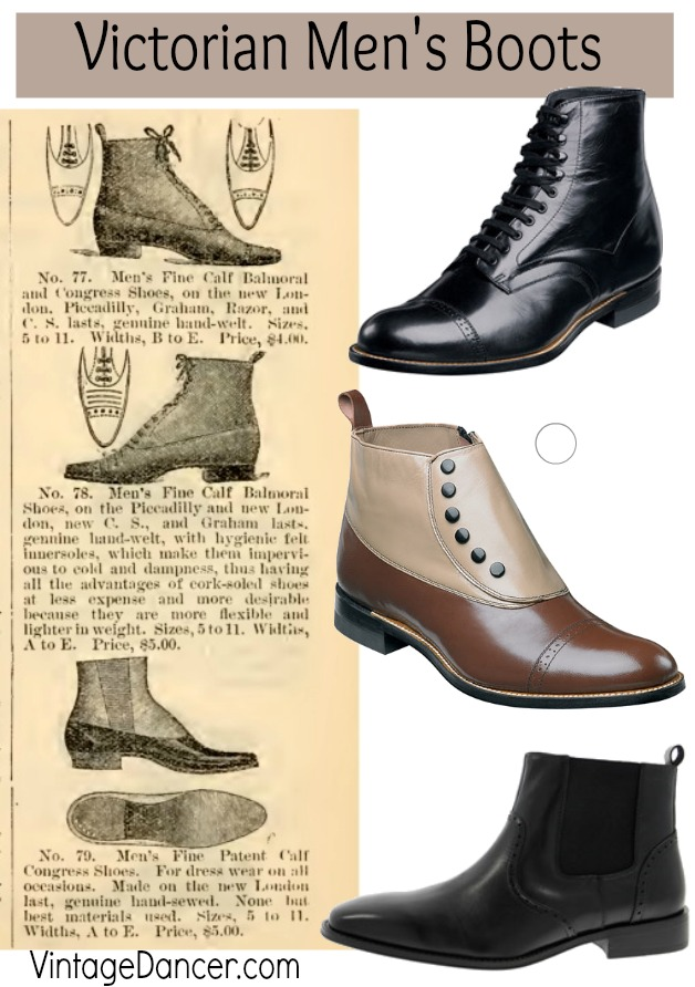 Victorian Men's Boots & Shoes. Classic Victorian era, civil War, Wild West gentlemen's boots in lace up, spat top, and pull on styles. Shop Sahafah24.info/Victorian