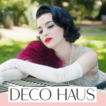 Glamorous 1920s reproduction evening wear at Deco Haus.