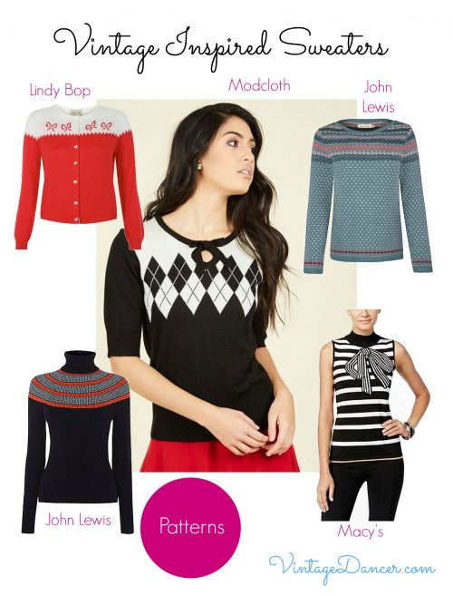 Add a pop of pattern to an outfit with these patterned vintage style sweaters, jumpers and cardigans.