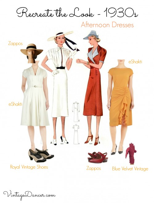 1930s outfits- tea dresses, day dresses, traveling outfits