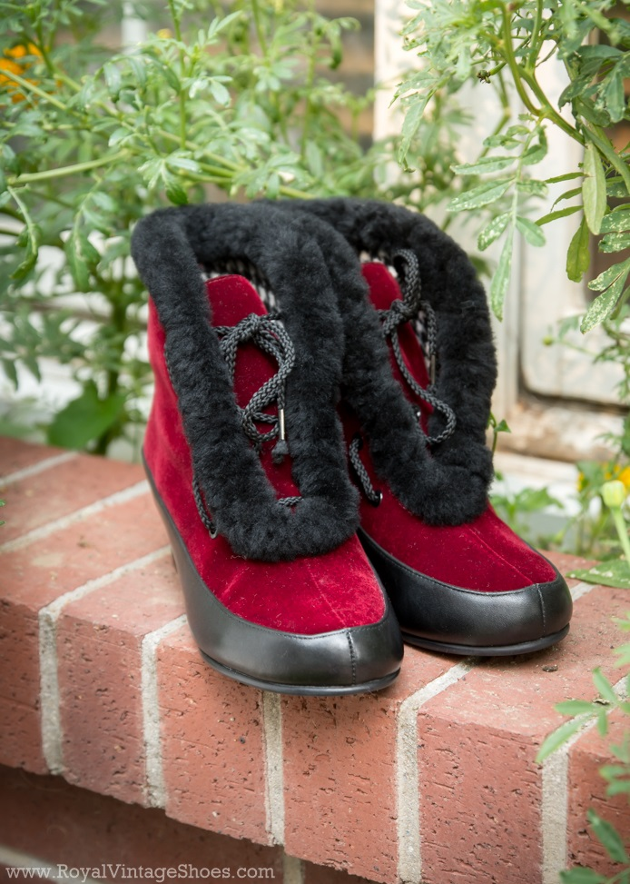 1930s Style Shoes – Art Deco Shoes Aspen Retro Winter Booties  RedBlack $195.00 AT vintagedancer.com