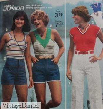 70s summer outfits: 1973 casual knit tops, tank top, V neck top. Click to see more 70s outfit ideas