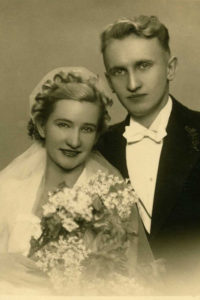 1935 wedding hat accented by a crown of curls