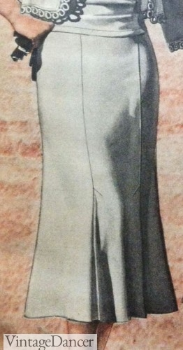 1930s day dress with kick pleats
