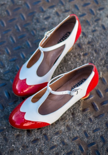 Pin Up Shoes- Heels, Pumps & Flats Gatsby Two-Tone T-Straps RedWhite $150.00 AT vintagedancer.com