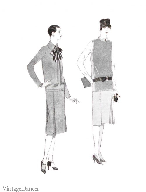 This illustration from Good Housekeeping 1926 shows how belts were utilised to draw attention to the low waistlines of the period.