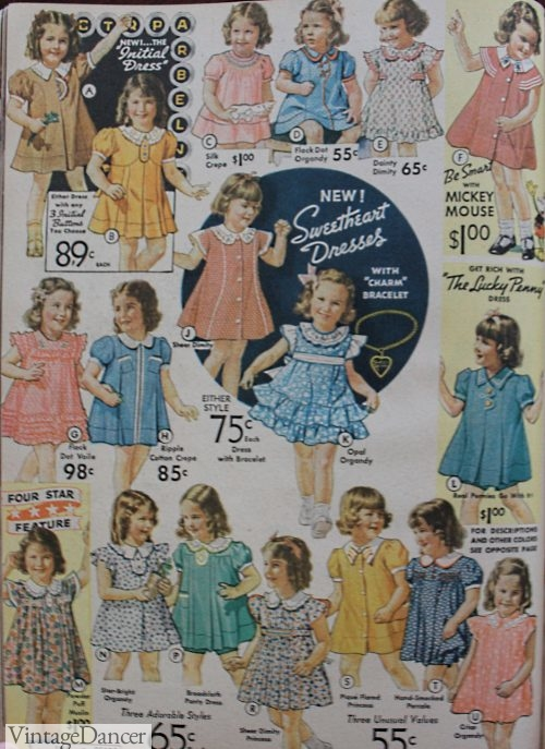 1930s toddler girls clothing dresses