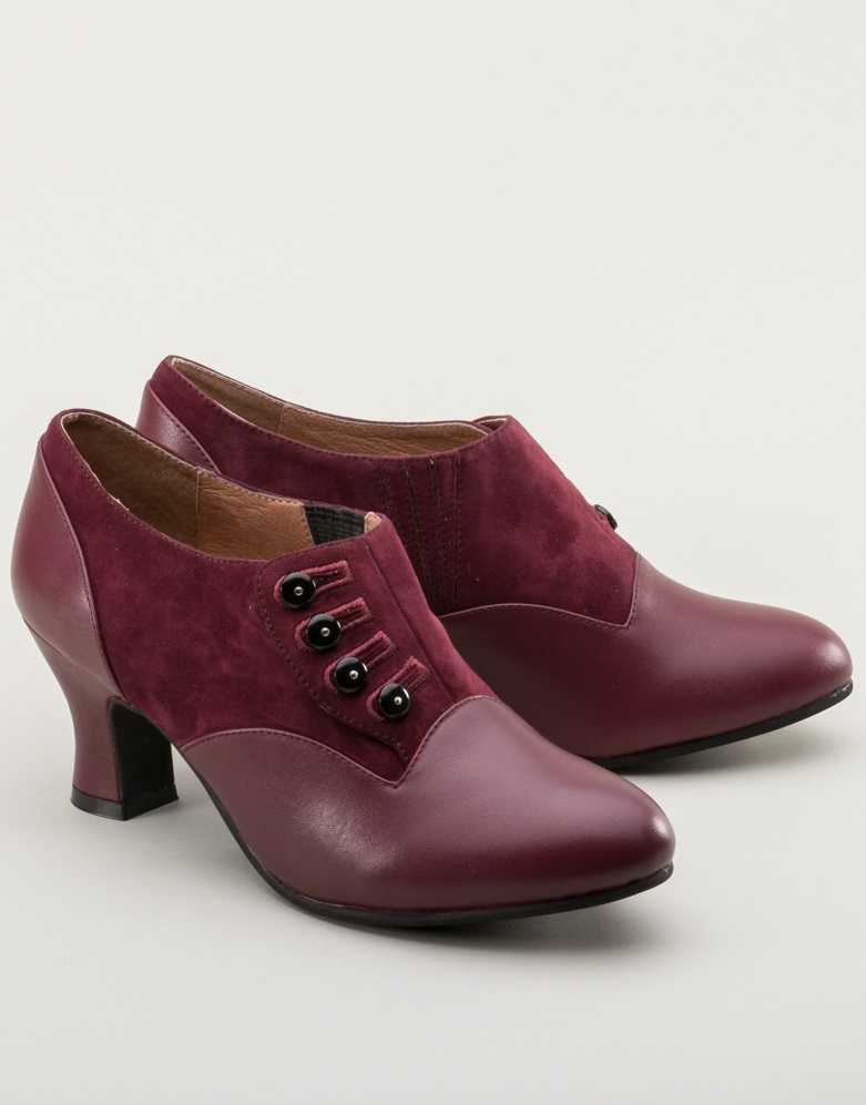 1940s Womens Footwear Greta Retro Side-Button Shoes Garnet $155.00 AT vintagedancer.com