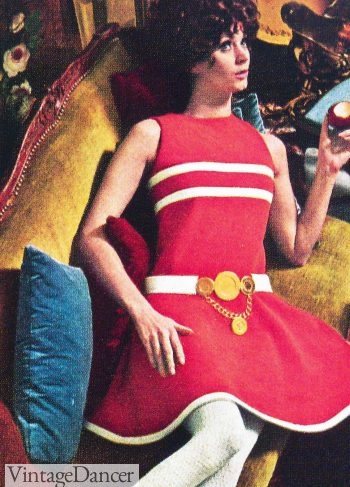 This belt featured in Harper's Bazaar, 1968 shows the drop of the waistline to the hips.