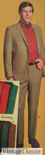 1967 red shirt under tan sportcoat with windowpane trousers
