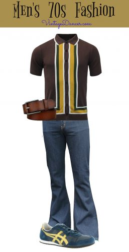 Casual 70s men's fashion - Bell bottom jeans, retro shirt, sneakers and belt