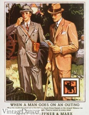 1920s mens suits, summer, late 1920s style. VintageDancer.com