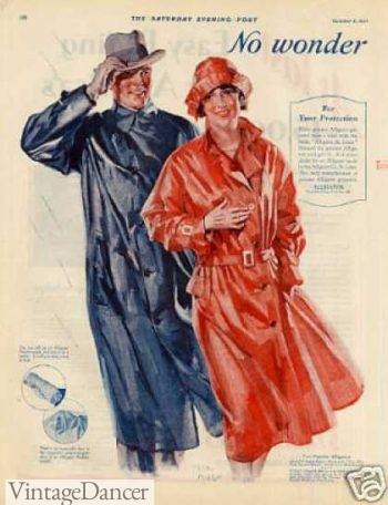 Red rain coat with matching cloche hat