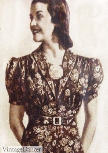 1930s shirred day dress