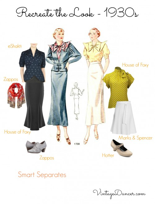 1930s blouses and skirts outfit ideas. Get these 30s outfits at VintageDancer.com/1930s
