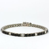 1920s Art Dec Bracelet - Onyx, Diamanté & Sterling Line Bracelet by Fishel, Nessler