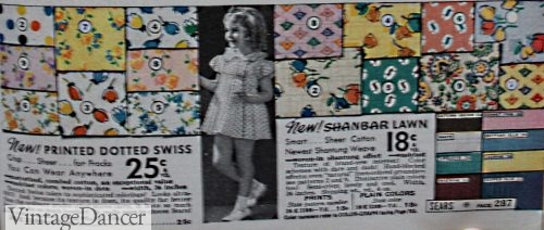 1930s textiles: Swiss Dot and Lawn 1937