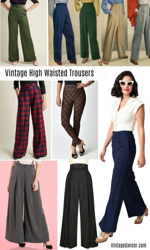 Vintage high waisted trousers & pants - 1930s, 1940s, 1950s, 1960s, 1970s