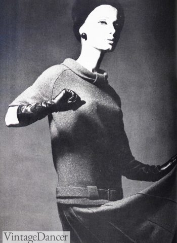 A new silhouette featuring a dropped waistline started to become fashionable from the middle of the 1960s. Image from British Vogue, 1964